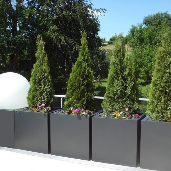 Bac plantes cubique hauteur 80 cm bacs et jardins for Plantes en bac exterieur