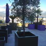 Bacs à plantes carrés sur une terrasse en Corse