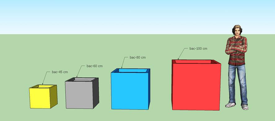 Bacs à plantes carrés en polyester