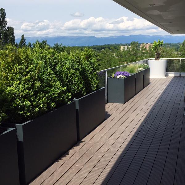 Tr s grande jardini re r sine polyester hauteur 80 cm bacs et jardins - Jardiniere haute et etroite ...
