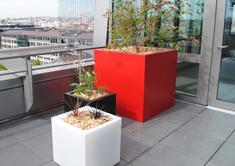 bacs à plantes cubiques en polyester