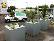 Grands bacs cubes pour aménager un parking